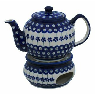 Traditional 1.0 liters teapot with a long spout and with warmer. Decor 166a