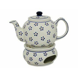 Traditional 1.0 liters teapot with a long spout and with warmer. Decor 1