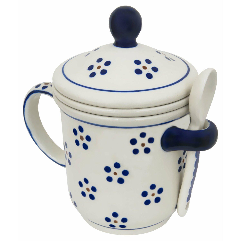 Bunzlauer Keramik Teebecher mit Deckel+Teesieb+Löffel Dekor 28 Teetasse Orig
