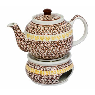 Traditional 1.0 liters teapot with a long spout and with warmer. Decor 973