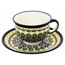 Coffee cup with curved out edge and saucer in the Decor DU1