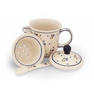 Tee mug with cover, tea strainer and spoon in the Decor 111