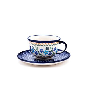 Coffee cup with curved out edge and saucer in the Decor 1154a