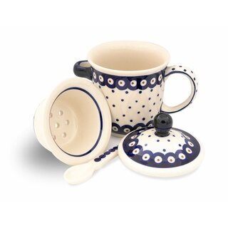 Tee mug with cover, tea strainer and spoon in the Decor 28